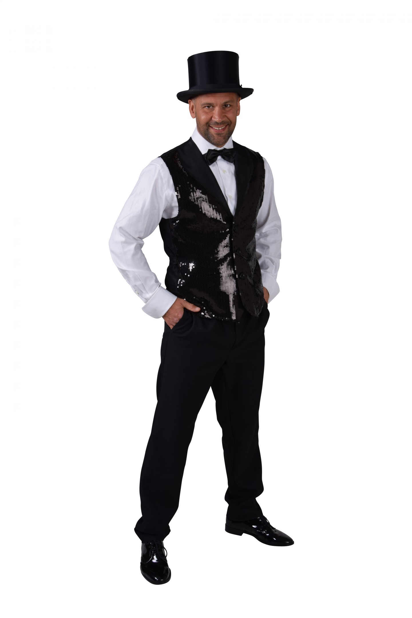 Vest pailletten luxe zwart-0