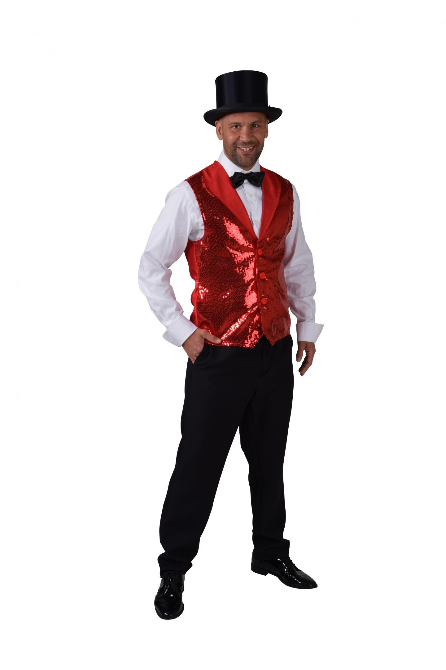 Vest pailletten luxe rood-0