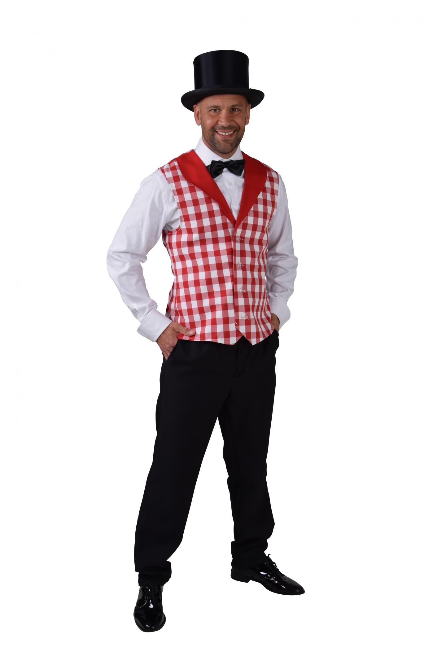 Vest ruit rood/wit-0