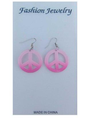 Peace oorringen pink per paar-0