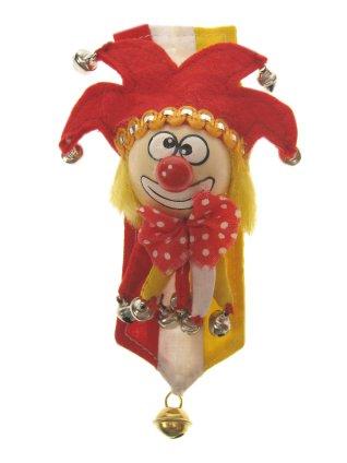Broche clown rood/wit/geel + banner-0