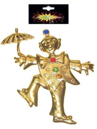Broche clown paraplu metaal goud-0