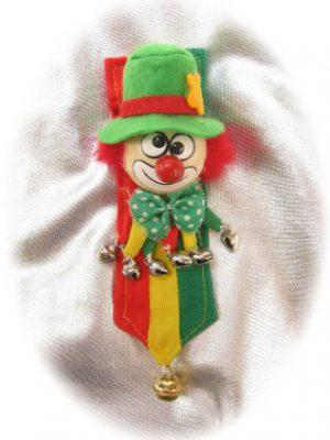 Broche clown op banner rood/geel/groen-0
