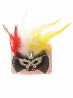 Haarclip met oogmasker en veren rood/geel/wit-0