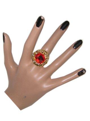 Ring nostalgie goud + rode steen (Sint)-0