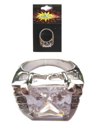 Bling bling ring + strass stenen zilver-0