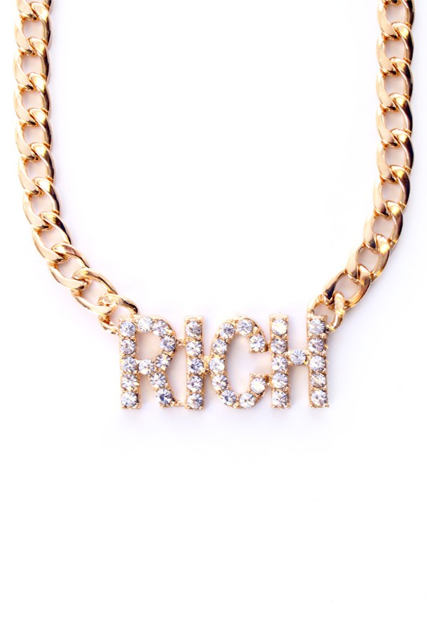 Ketting goud strass 'Rich'-0