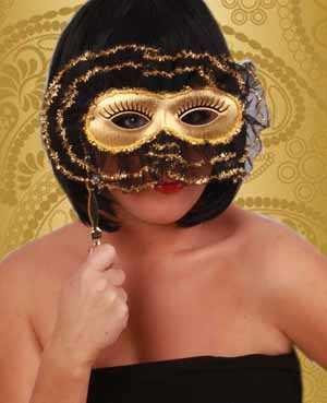 Oogmasker op stok goud met ruche-0