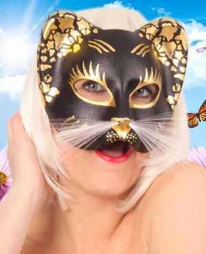 Oog halfmasker kat zwart/goud-0