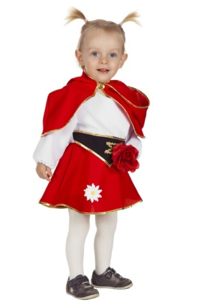 Baby rood kapje met cape-0