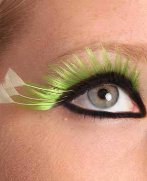 Wimpers zwart + fluor groen punten-0