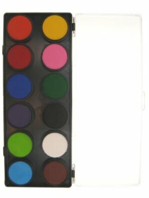 Aqua schminkpallet ronde potjes 12 reguliere kleuren partyXp-0
