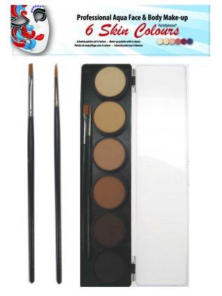 Pastel schminkpallet ronde potjes 6 huidskleuren partyXplosi-0