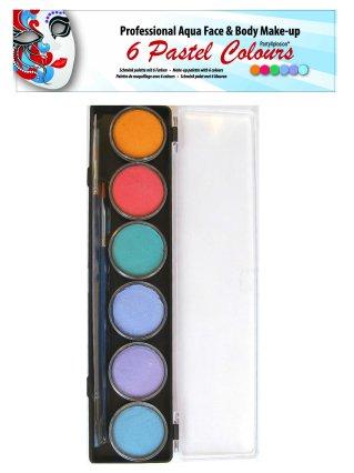 Aqua schminkpallet ronde potjes 6 pastel kleuren partyXplosi-0