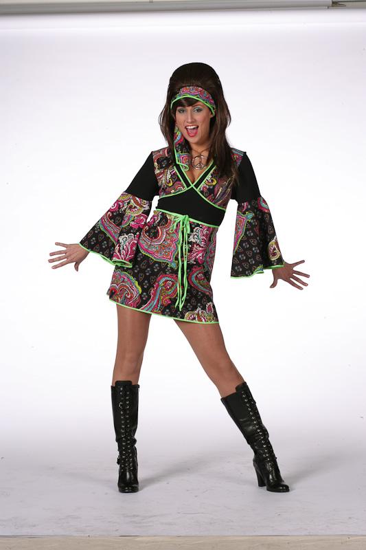 Hippie jurk zwart/paars-0