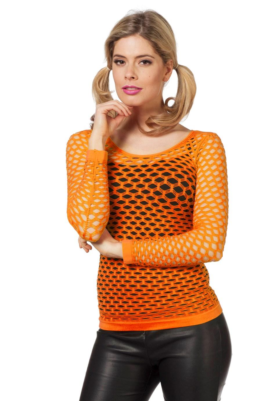 Netshirt lange mouw neon oranje-0