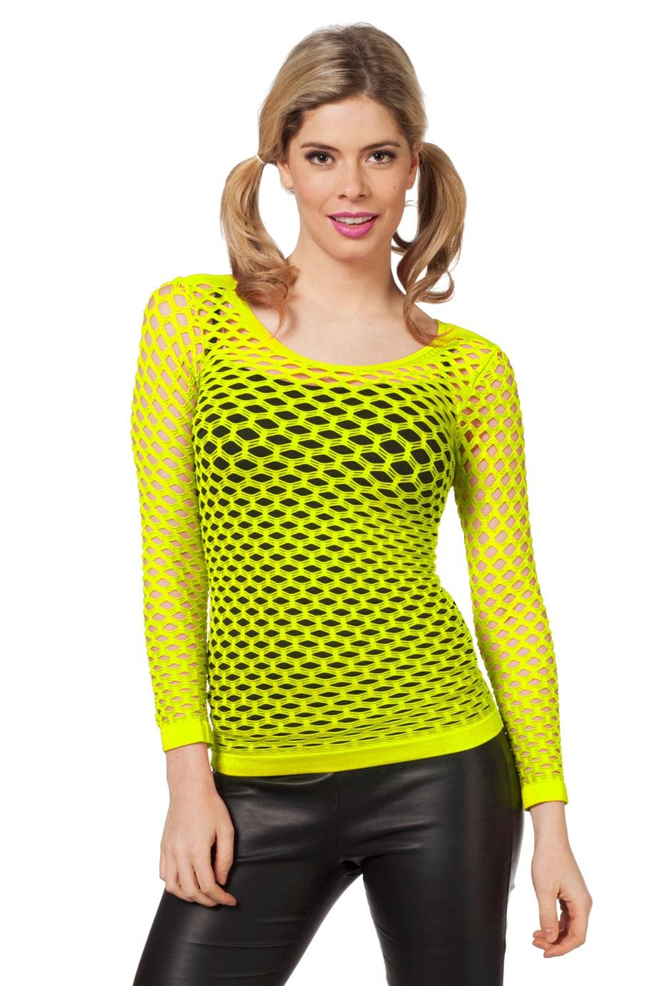 Netshirt lange mouw neon geel-0