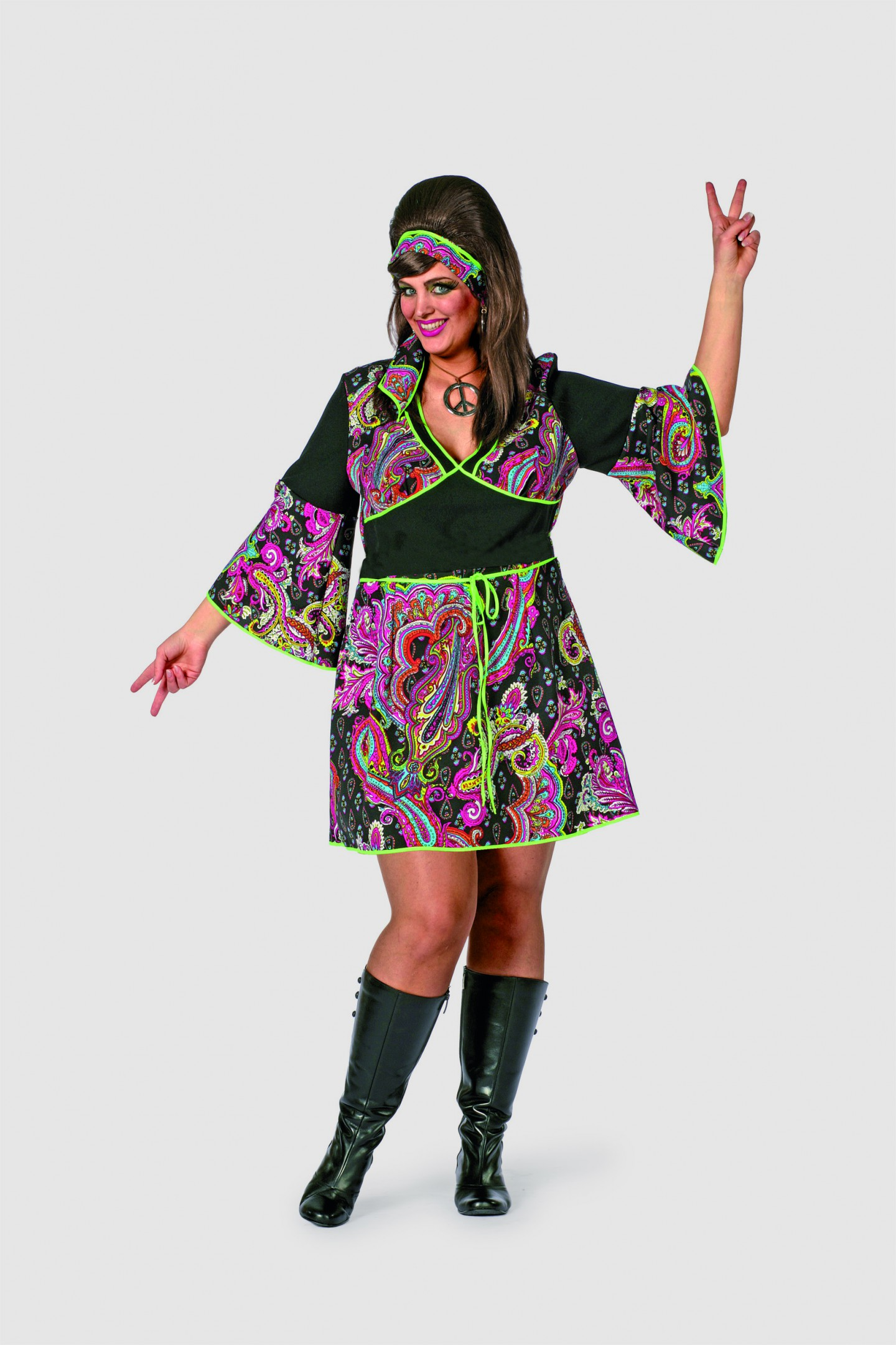 Hippy lady zwart grote maten-0