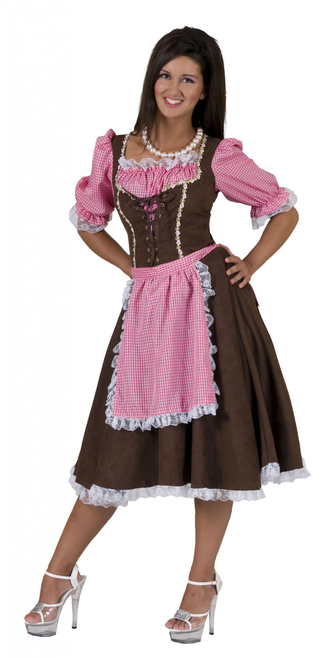Dirndl jurk roze / bruin rosa klassiek