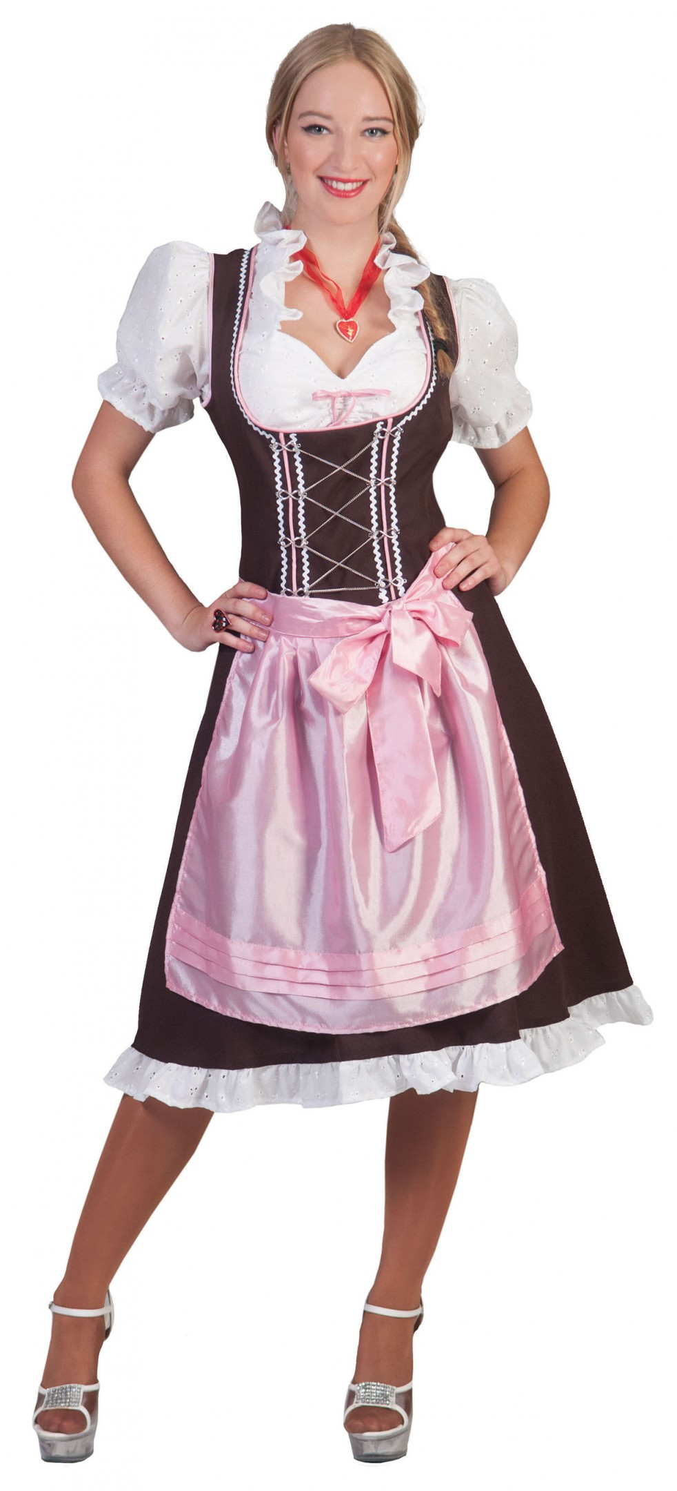 Dirndl jurk roze / bruin patricia