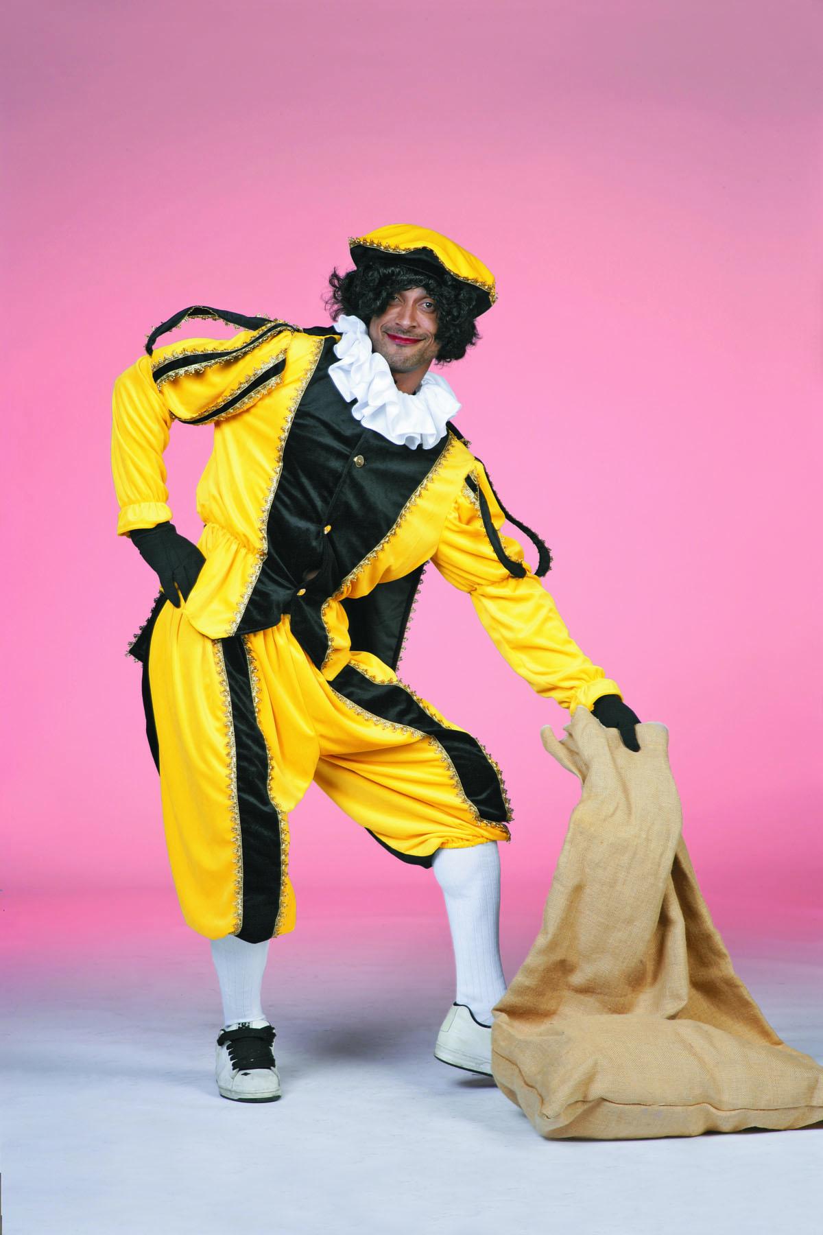 Zwarte Piet fluweel zwart/geel-0