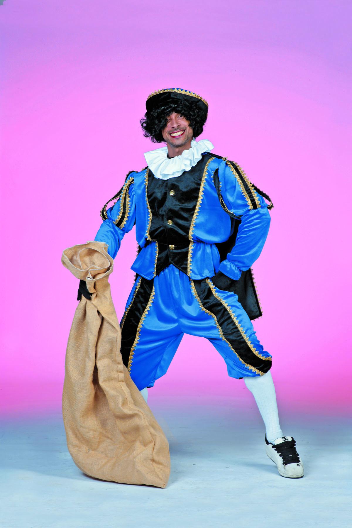 Zwarte Piet fluweel zwart/blauw-0