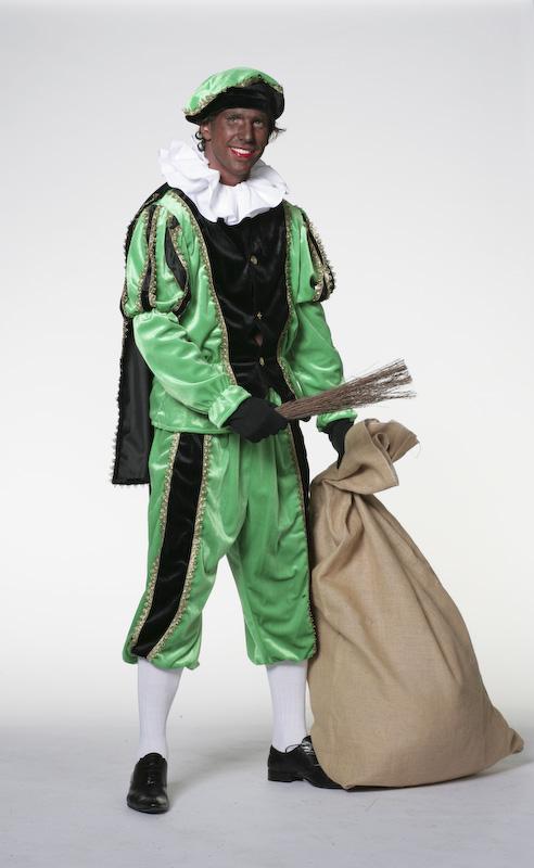 Zwarte Piet fluweel zwart/groen-0