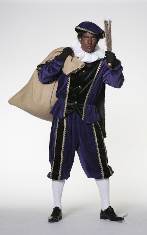 Zwarte Piet fluweel zwart/paars-0