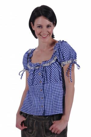 Tiroler blouse blauw / wit Steffi