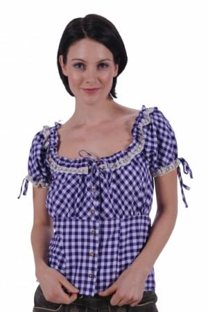 Tiroler blouse paars / wit steffi
