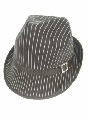 Gangster hoedje met streep glans zwart-0