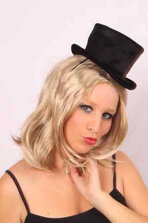 Mini hoge hoed dames zwart-0