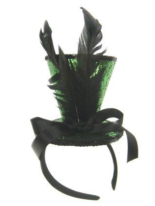 Mini hoge hoed op hoofdband metallic groen+veren-0