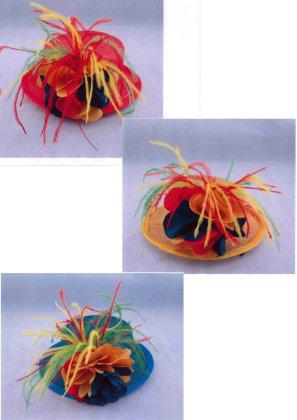 Minihoedje + haarklem assortie kleuren-0