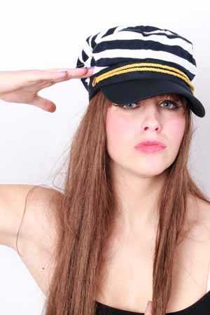 Cap schipper blauw/wit mt. 59-0