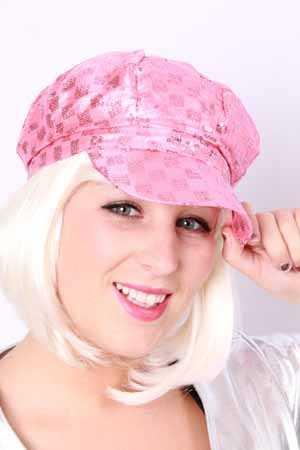 Cap met pailletten pink-0