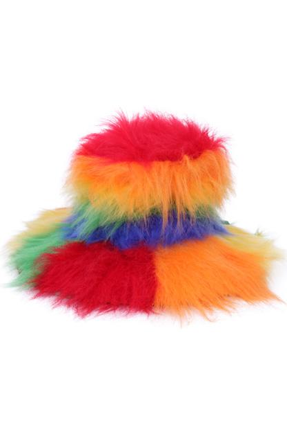Plushe hoed regenboog kleuren-0