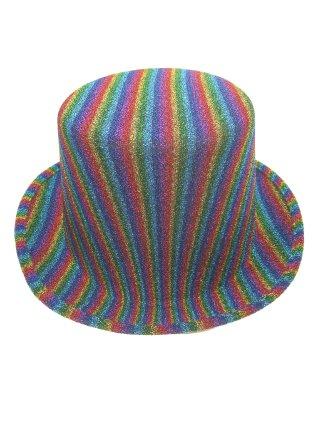 Hoge hoed glitter regenboog-0