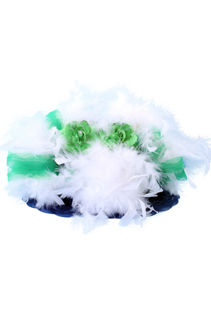 Dameshoed Organza fantasie blauw/wit/groen-0