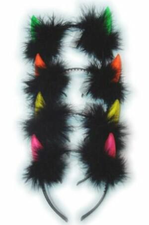 Duivels hoorntjes hoofdband assortie fluor metpluche-0