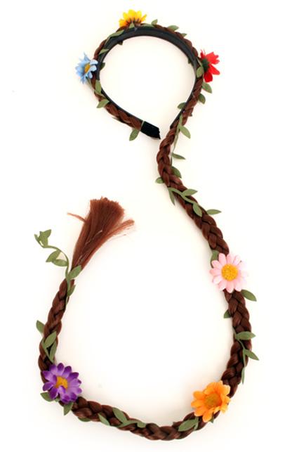 Haarband met staart en 3 kleuren bloemen-0