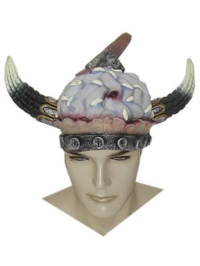 Halloween rubber helm hersens + bijl-0