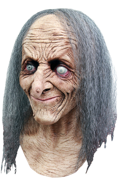 Masker oude heks Hagatha met grijs haar -0