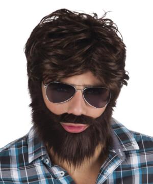 Dude pruik met snor en baard-0