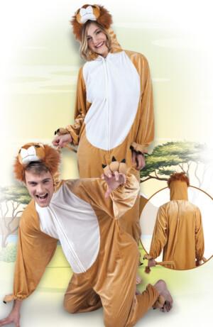 Leeuw pluche volwassen, jumpsuit-0