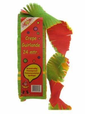 Crepe guirlande brandveilig rood/geel/groen mt. 24 meter-0