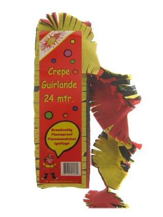 Crepe guirlande brandveilig rood/zwart/geel mt. 24 meter-0