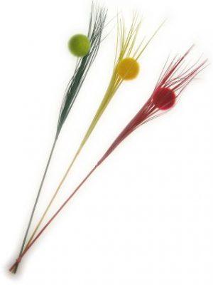 Decoratie takken rood/geel/groen per 3 dikke bollen mt. 78 c-0