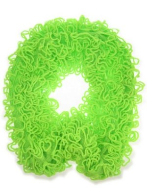 Sjawl loop met franjes fluor groen-0