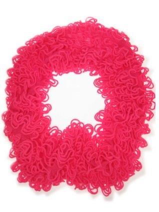 Sjawl loop met franjes fluor pink-0